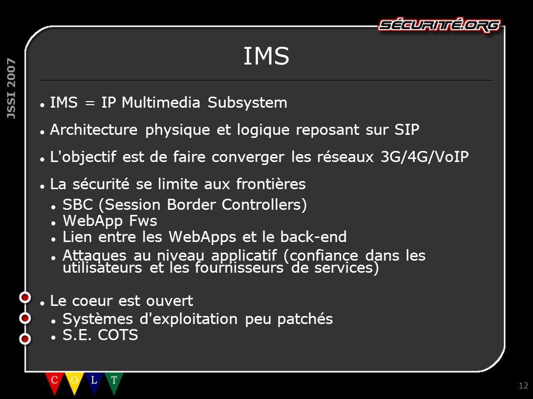 JSSI 2007 12 IMS IMS = IP Multimedia Subsystem Architecture physique et logique reposant sur SIP L'objectif est de faire converger les réseaux 3G/4G/V