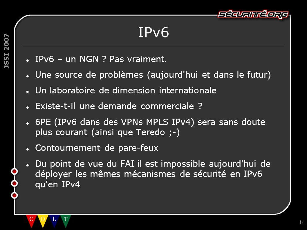 JSSI 2007 14 IPv6 IPv6 – un NGN ? Pas vraiment. Une source de problèmes (aujourd'hui et dans le futur) Un laboratoire de dimension internationale Exis