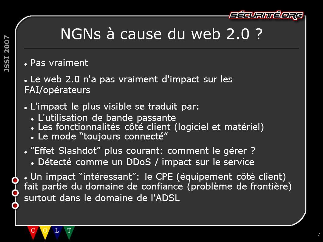 JSSI 2007 7 NGNs à cause du web 2.0 ? Pas vraiment Le web 2.0 n'a pas vraiment d'impact sur les FAI/opérateurs L'impact le plus visible se traduit par