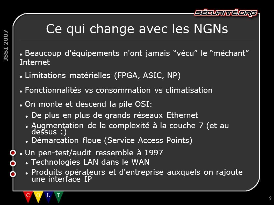 JSSI 2007 9 Ce qui change avec les NGNs Beaucoup d'équipements n'ont jamais vécu le méchant Internet Limitations matérielles (FPGA, ASIC, NP) Fonction
