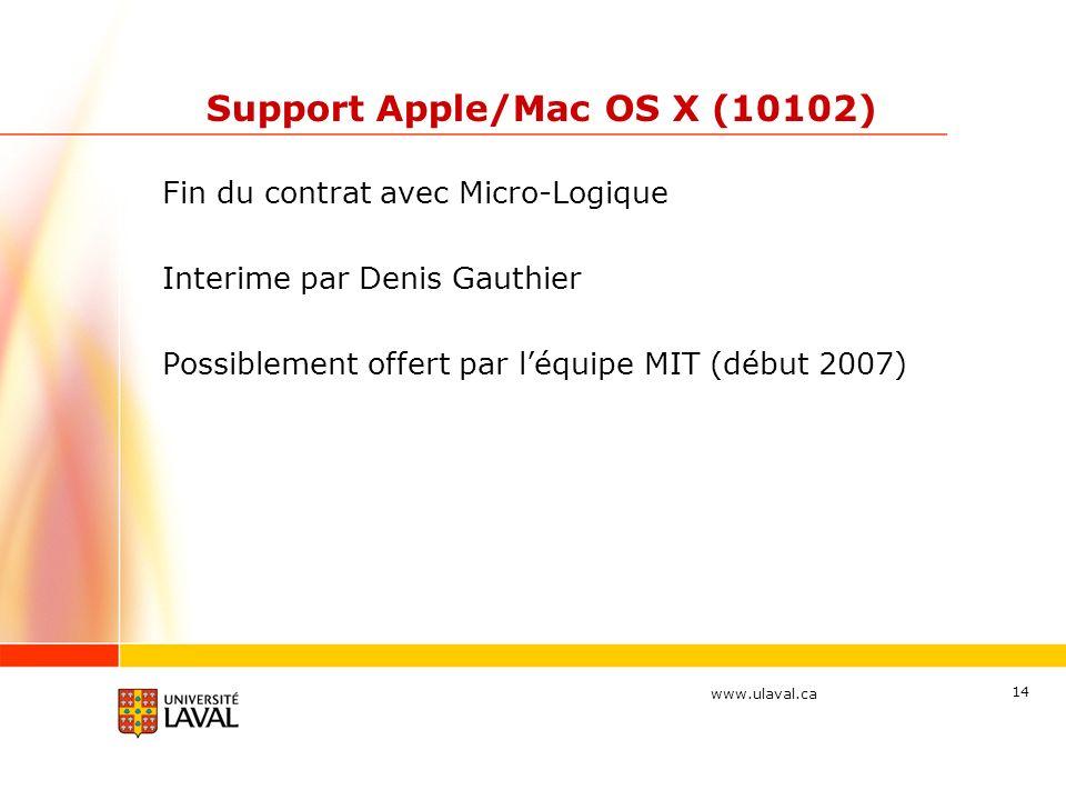 www.ulaval.ca 14 Support Apple/Mac OS X (10102) Fin du contrat avec Micro-Logique Interime par Denis Gauthier Possiblement offert par léquipe MIT (début 2007)