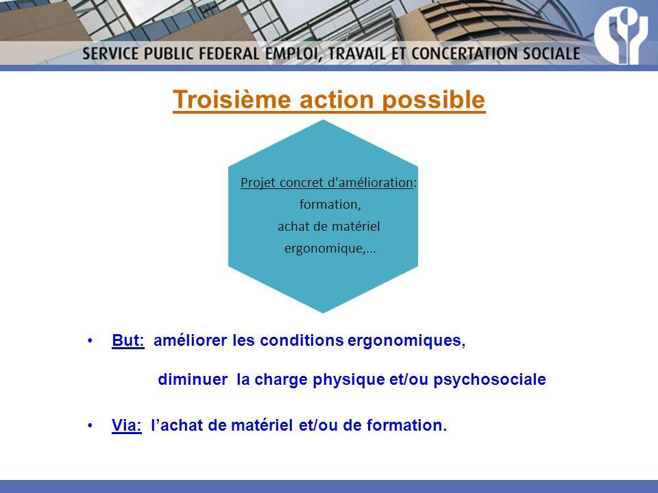 Troisième action possible But: améliorer les conditions ergonomiques, diminuer la charge physique et/ou psychosociale Via: lachat de matériel et/ou de formation.