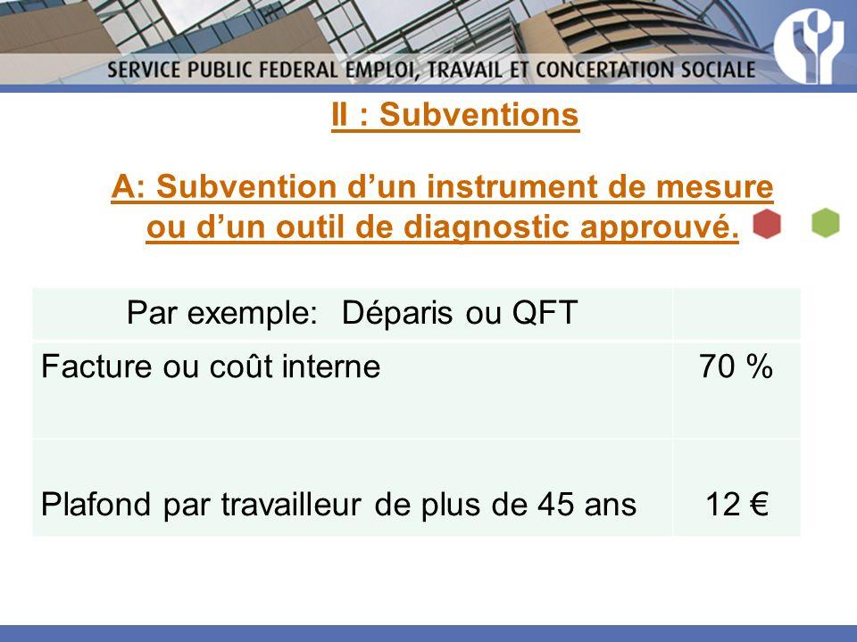Par exemple: Déparis ou QFT Facture ou coût interne70 % Plafond par travailleur de plus de 45 ans12 A: Subvention dun instrument de mesure ou dun outil de diagnostic approuvé.