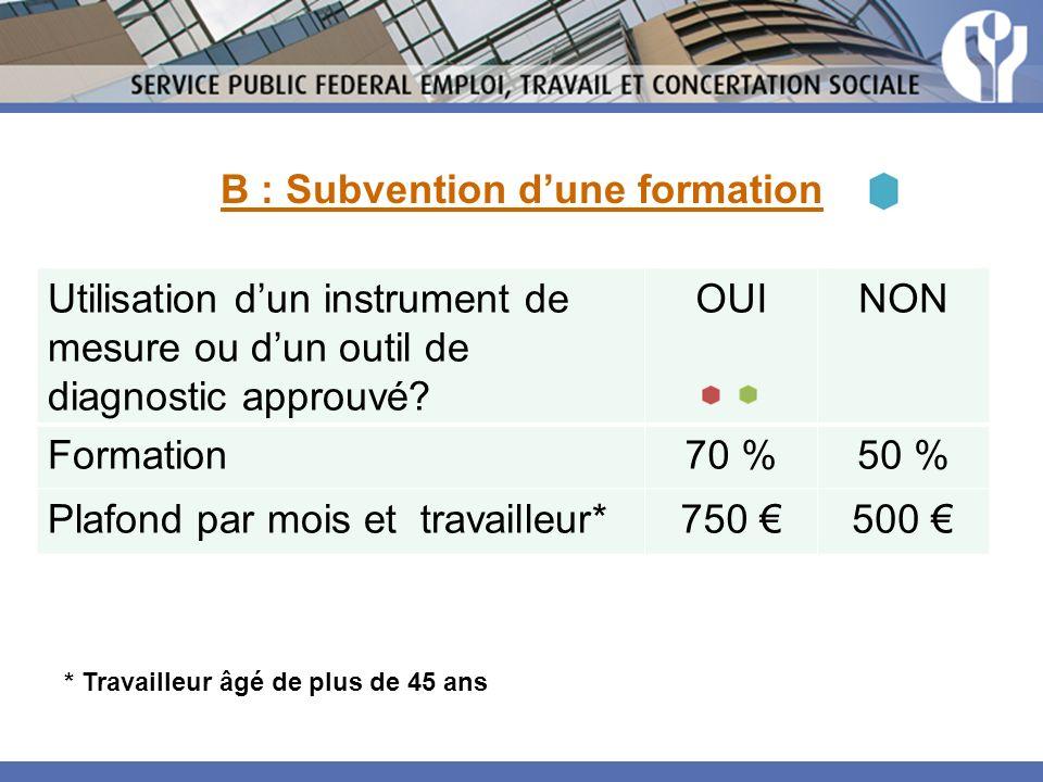 Utilisation dun instrument de mesure ou dun outil de diagnostic approuvé? OUINON Formation70 %50 % Plafond par mois et travailleur*750 500 * Travaille