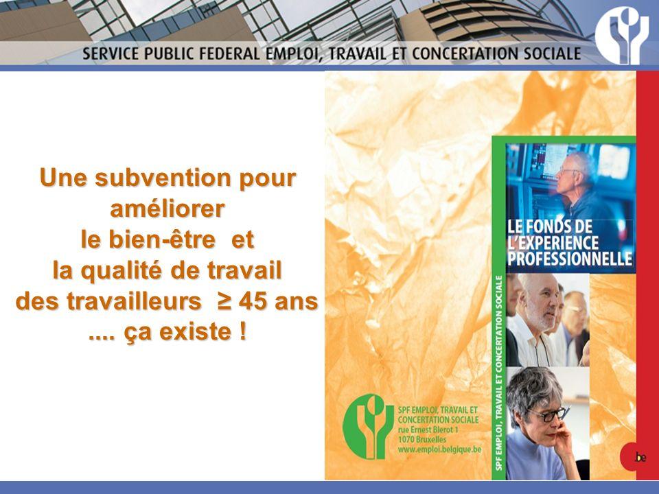 Une subvention pour améliorer le bien-être et la qualité de travail des travailleurs 45 ans....