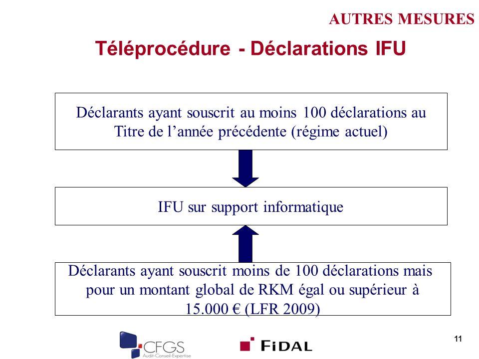 Téléprocédure - Déclarations IFU 11 Déclarants ayant souscrit au moins 100 déclarations au Titre de lannée précédente (régime actuel) IFU sur support