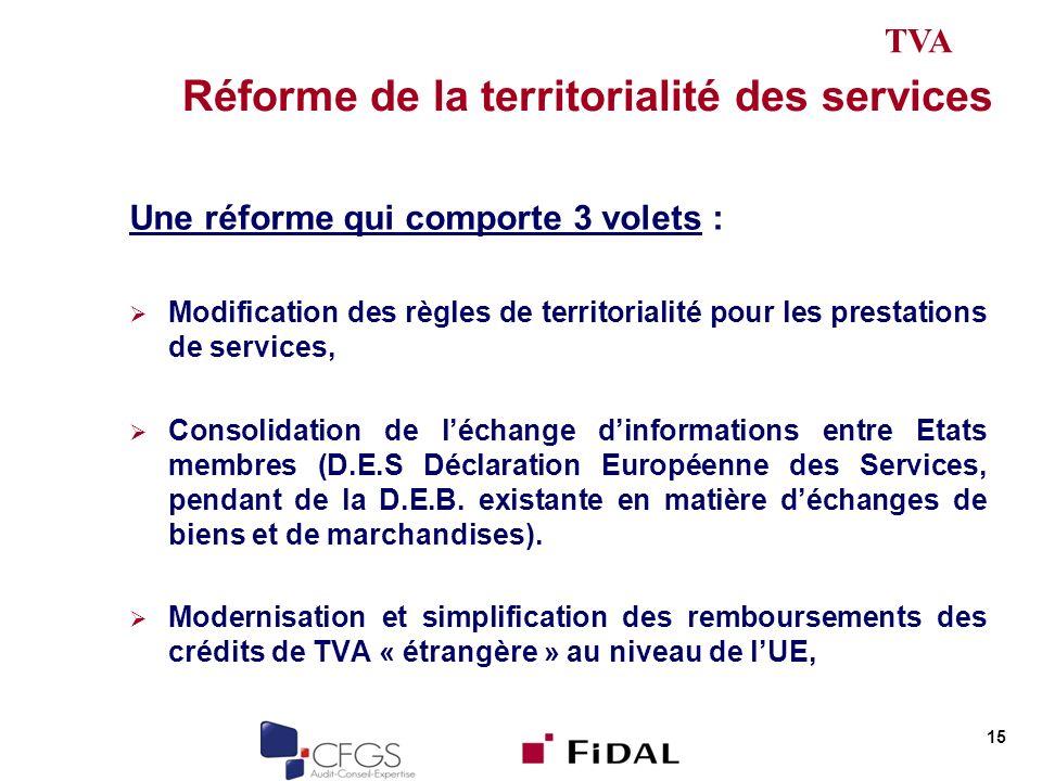 Réforme de la territorialité des services Une réforme qui comporte 3 volets : Modification des règles de territorialité pour les prestations de services, Consolidation de léchange dinformations entre Etats membres (D.E.S Déclaration Européenne des Services, pendant de la D.E.B.