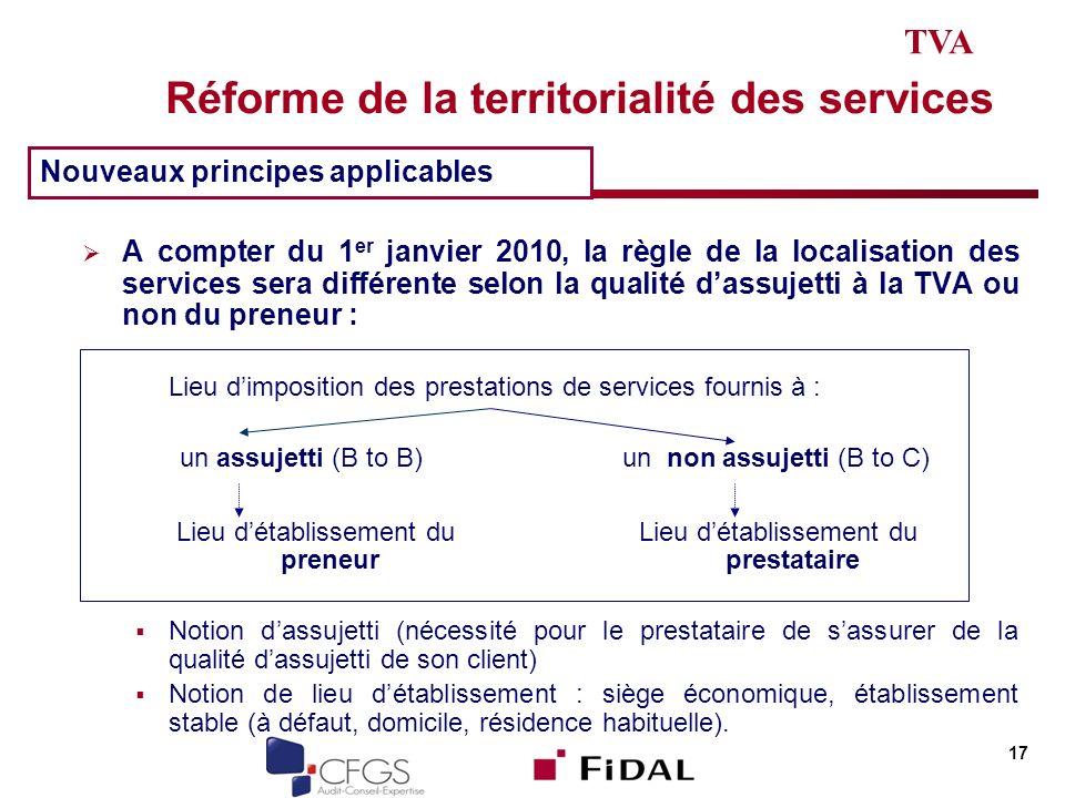 Réforme de la territorialité des services A compter du 1 er janvier 2010, la règle de la localisation des services sera différente selon la qualité da