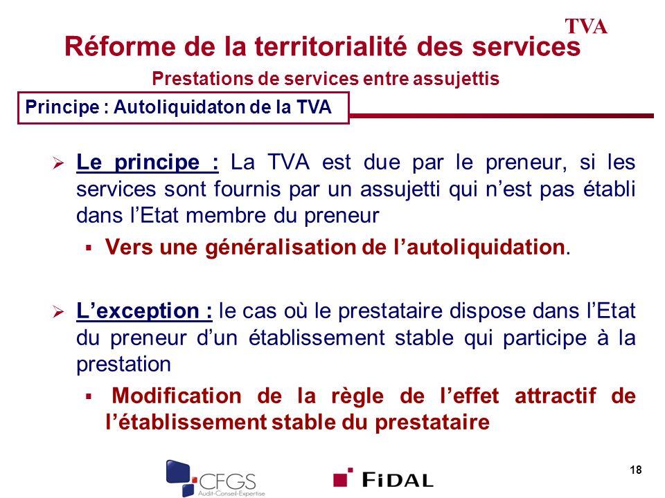 Réforme de la territorialité des services Prestations de services entre assujettis Le principe : La TVA est due par le preneur, si les services sont f