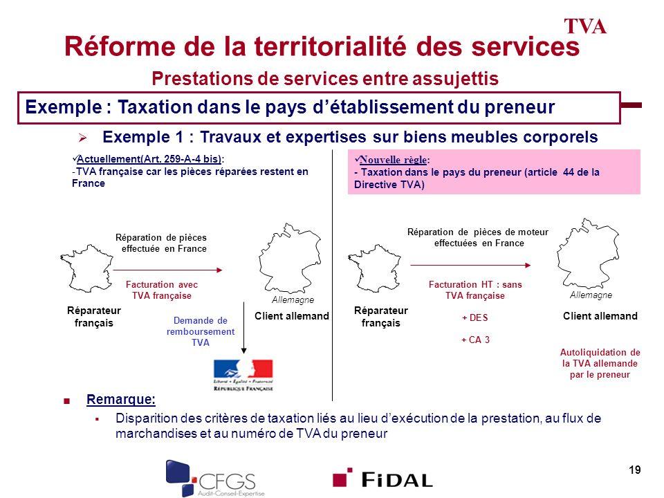 Réforme de la territorialité des services Prestations de services entre assujettis 19 TVA Exemple : Taxation dans le pays détablissement du preneur Ex