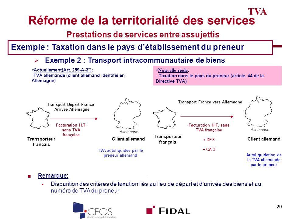 Réforme de la territorialité des services Prestations de services entre assujettis 20 TVA Exemple : Taxation dans le pays détablissement du preneur Ex