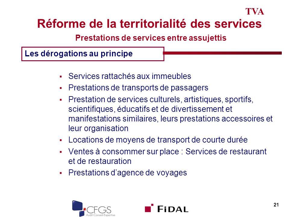 Réforme de la territorialité des services Prestations de services entre assujettis Services rattachés aux immeubles Prestations de transports de passa