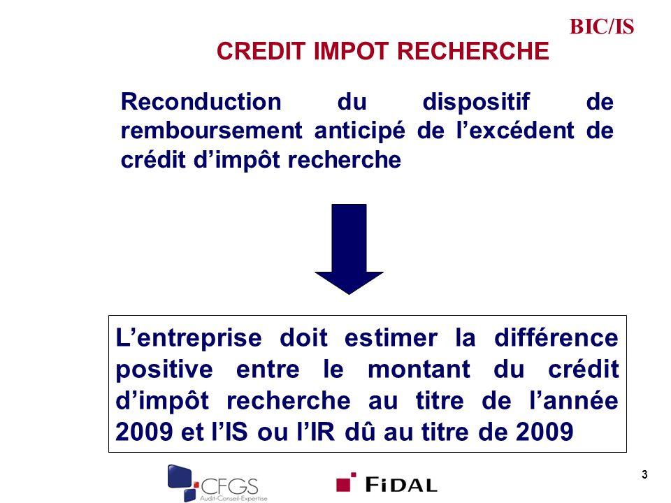 CREDIT IMPOT RECHERCHE Reconduction du dispositif de remboursement anticipé de lexcédent de crédit dimpôt recherche 3 Lentreprise doit estimer la différence positive entre le montant du crédit dimpôt recherche au titre de lannée 2009 et lIS ou lIR dû au titre de 2009 BIC/IS