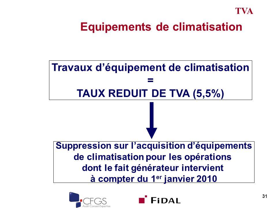 Equipements de climatisation 31 Travaux déquipement de climatisation = TAUX REDUIT DE TVA (5,5%) Suppression sur lacquisition déquipements de climatisation pour les opérations dont le fait générateur intervient à compter du 1 er janvier 2010 TVA