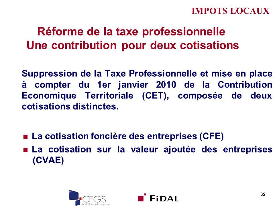 Réforme de la taxe professionnelle Une contribution pour deux cotisations Suppression de la Taxe Professionnelle et mise en place à compter du 1er janvier 2010 de la Contribution Economique Territoriale (CET), composée de deux cotisations distinctes.