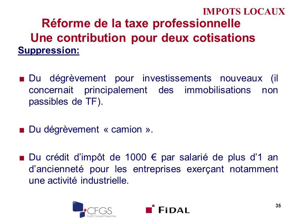 Réforme de la taxe professionnelle Une contribution pour deux cotisations Suppression: Du dégrèvement pour investissements nouveaux (il concernait pri