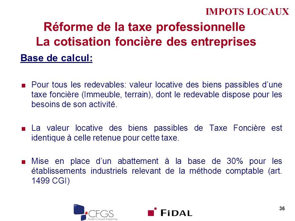 Réforme de la taxe professionnelle La cotisation foncière des entreprises Base de calcul: Pour tous les redevables: valeur locative des biens passible