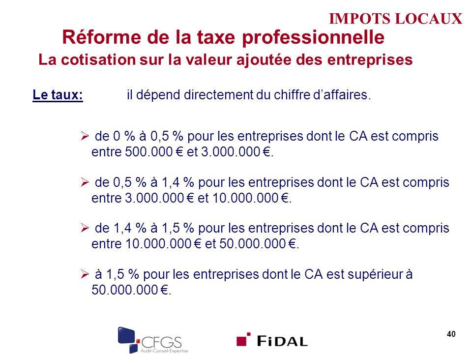 Réforme de la taxe professionnelle La cotisation sur la valeur ajoutée des entreprises Le taux: il dépend directement du chiffre daffaires. de 0 % à 0