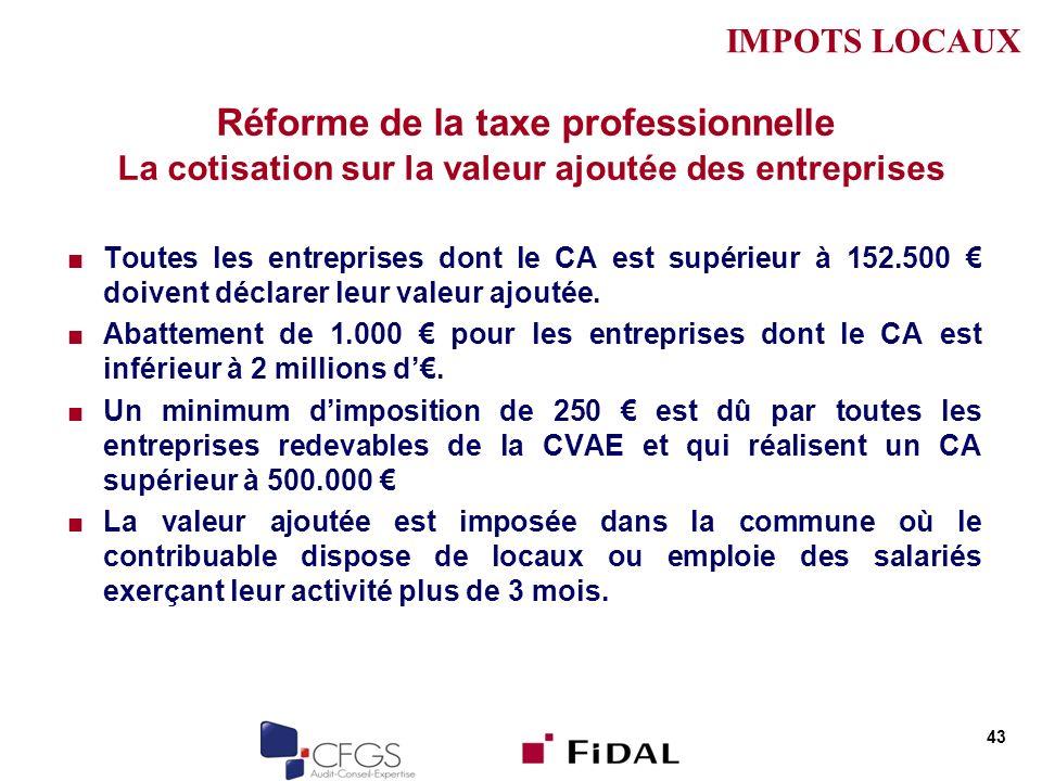 Réforme de la taxe professionnelle La cotisation sur la valeur ajoutée des entreprises Toutes les entreprises dont le CA est supérieur à 152.500 doive