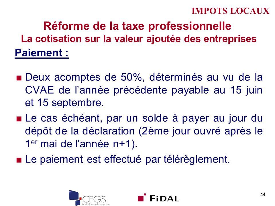 Réforme de la taxe professionnelle La cotisation sur la valeur ajoutée des entreprises Paiement : Deux acomptes de 50%, déterminés au vu de la CVAE de lannée précédente payable au 15 juin et 15 septembre.
