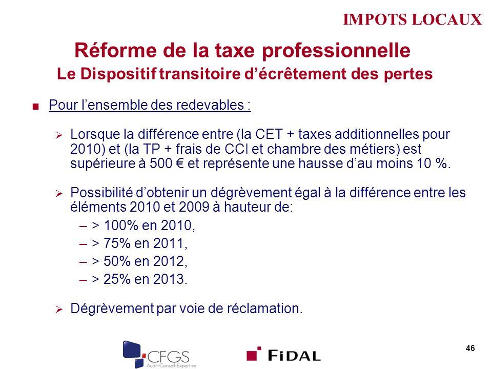 Réforme de la taxe professionnelle Le Dispositif transitoire décrêtement des pertes Pour lensemble des redevables : Lorsque la différence entre (la CET + taxes additionnelles pour 2010) et (la TP + frais de CCI et chambre des métiers) est supérieure à 500 et représente une hausse dau moins 10 %.