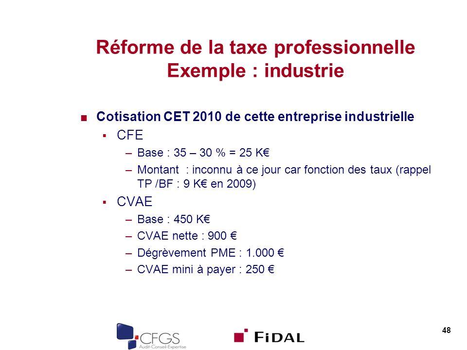 Réforme de la taxe professionnelle Exemple : industrie Cotisation CET 2010 de cette entreprise industrielle CFE –Base : 35 – 30 % = 25 K –Montant : inconnu à ce jour car fonction des taux (rappel TP /BF : 9 K en 2009) CVAE –Base : 450 K –CVAE nette : 900 –Dégrèvement PME : 1.000 –CVAE mini à payer : 250 48