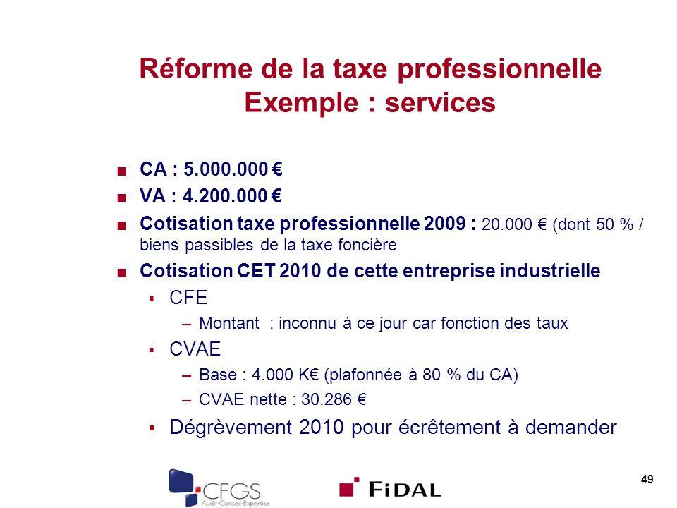 Réforme de la taxe professionnelle Exemple : services CA : 5.000.000 VA : 4.200.000 Cotisation taxe professionnelle 2009 : 20.000 (dont 50 % / biens passibles de la taxe foncière Cotisation CET 2010 de cette entreprise industrielle CFE –Montant : inconnu à ce jour car fonction des taux CVAE –Base : 4.000 K (plafonnée à 80 % du CA) –CVAE nette : 30.286 Dégrèvement 2010 pour écrêtement à demander 49