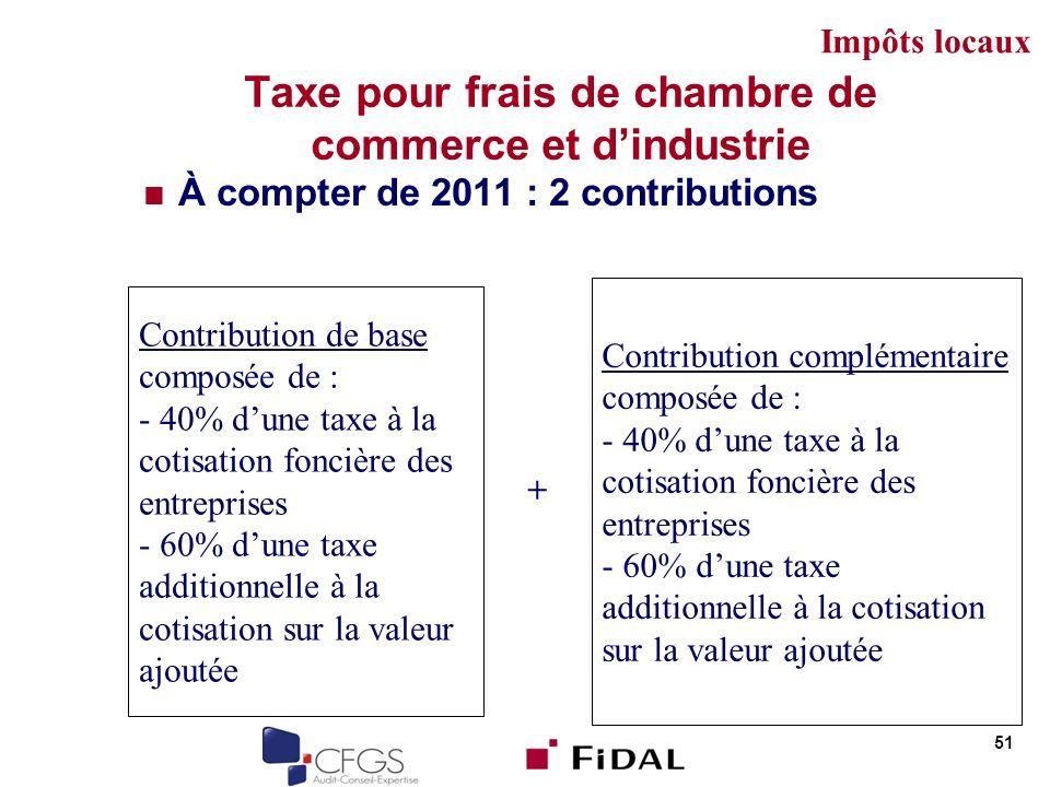 Taxe pour frais de chambre de commerce et dindustrie À compter de 2011 : 2 contributions 51 Contribution de base composée de : - 40% dune taxe à la co