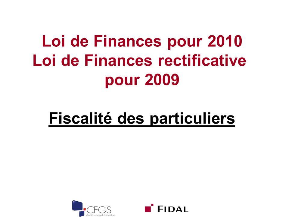 Loi de Finances pour 2010 Loi de Finances rectificative pour 2009 Fiscalité des particuliers