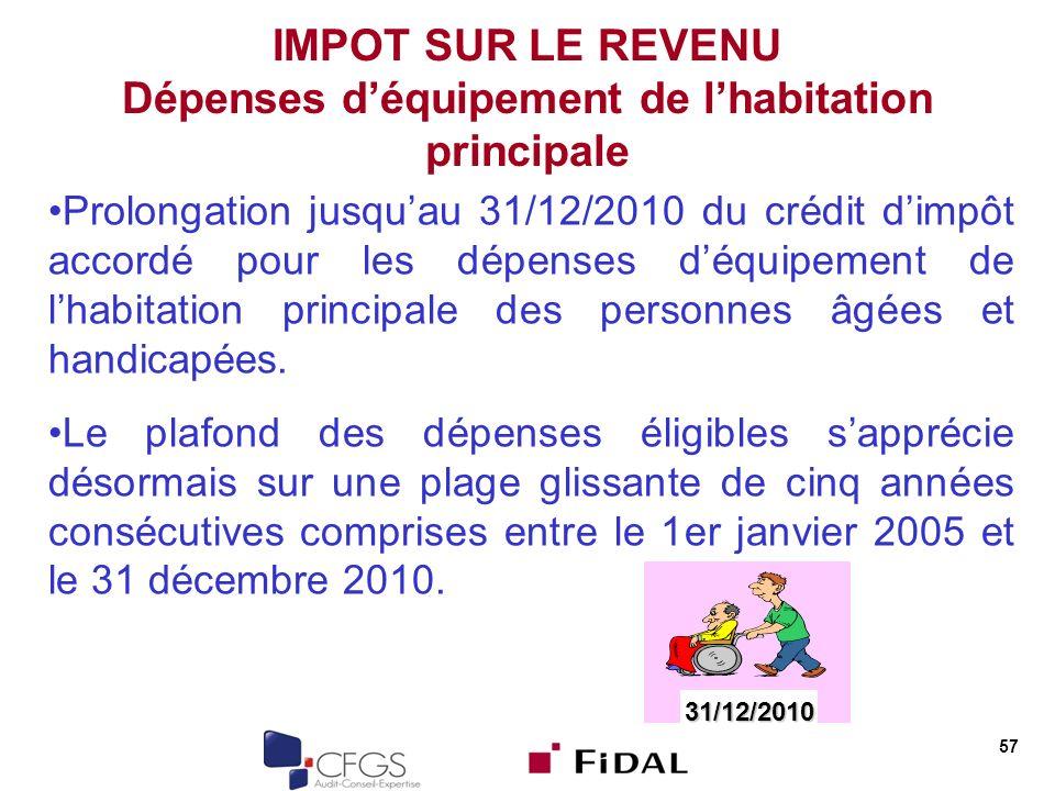 57 IMPOT SUR LE REVENU Dépenses déquipement de lhabitation principale Prolongation jusquau 31/12/2010 du crédit dimpôt accordé pour les dépenses déqui