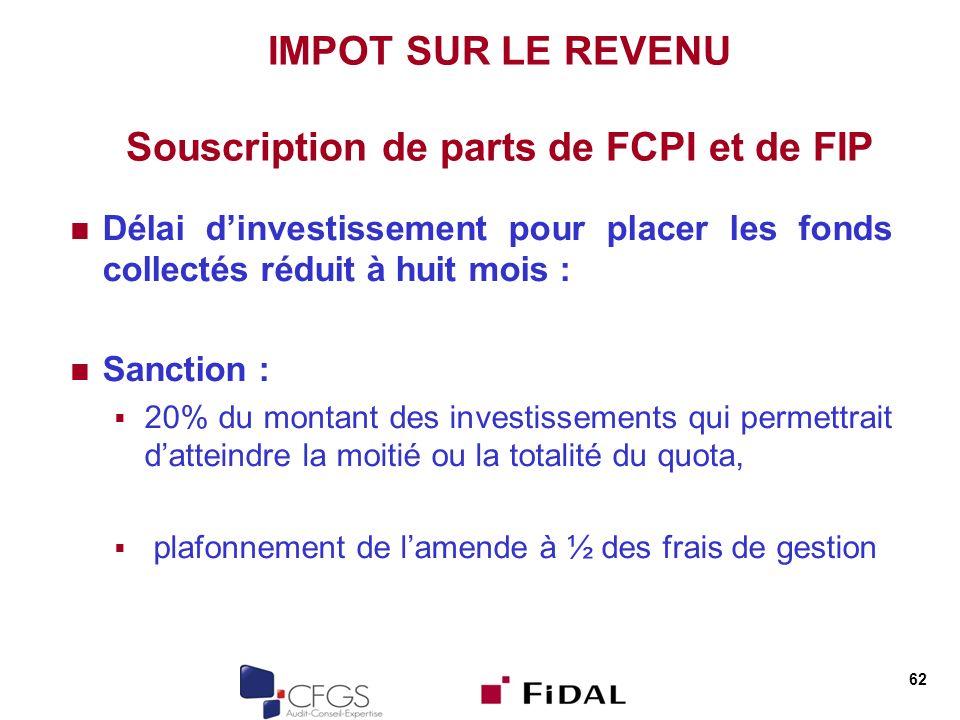 62 IMPOT SUR LE REVENU Souscription de parts de FCPI et de FIP Délai dinvestissement pour placer les fonds collectés réduit à huit mois : Sanction : 2