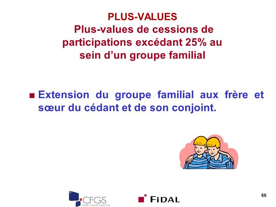 66 PLUS-VALUES Plus-values de cessions de participations excédant 25% au sein dun groupe familial Extension du groupe familial aux frère et sœur du cédant et de son conjoint.