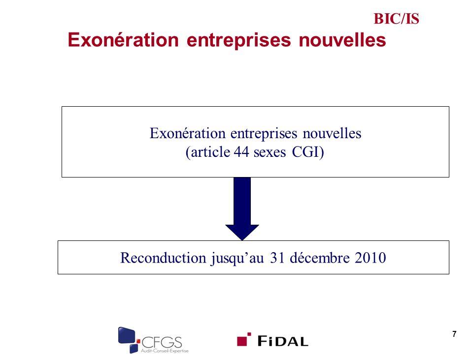 Exonération entreprises nouvelles 7 (article 44 sexes CGI) Reconduction jusquau 31 décembre 2010 BIC/IS