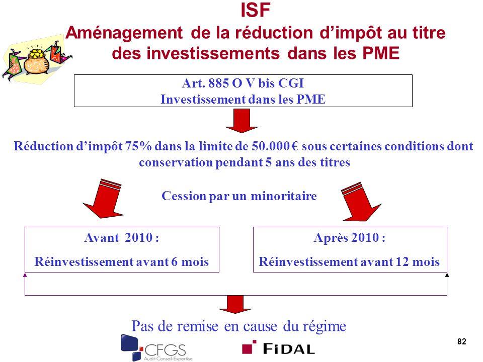 82 ISF Aménagement de la réduction dimpôt au titre des investissements dans les PME Art. 885 O V bis CGI Investissement dans les PME Réduction dimpôt