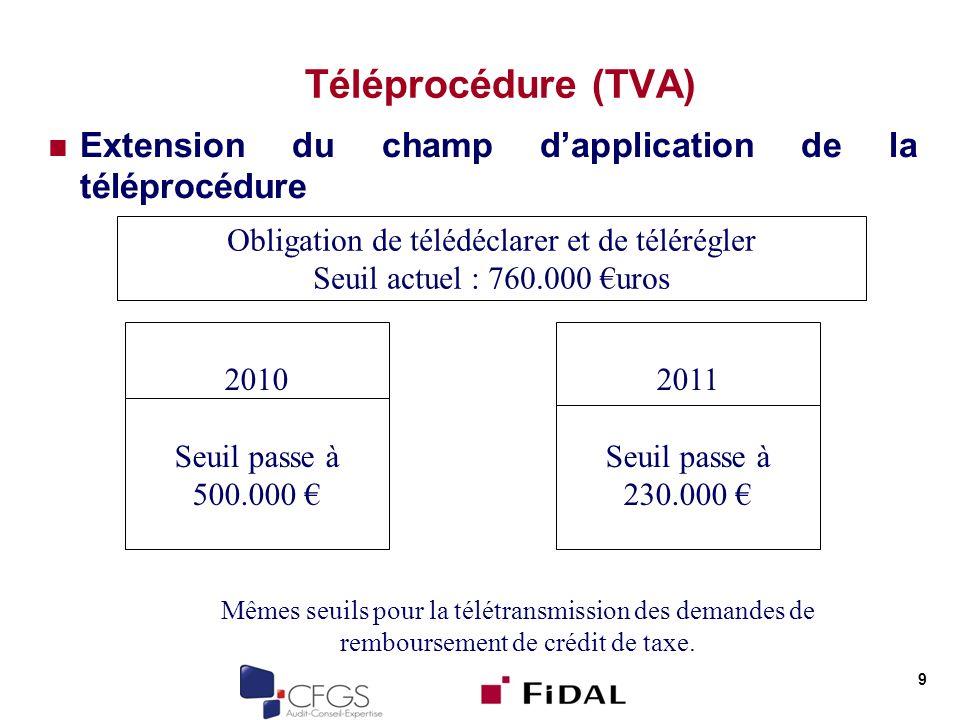 Téléprocédure (TVA) Extension du champ dapplication de la téléprocédure 9 Obligation de télédéclarer et de télérégler Seuil actuel : 760.000 uros 2010