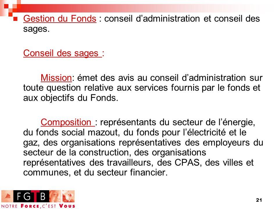 21 Gestion du Fonds : conseil dadministration et conseil des sages.