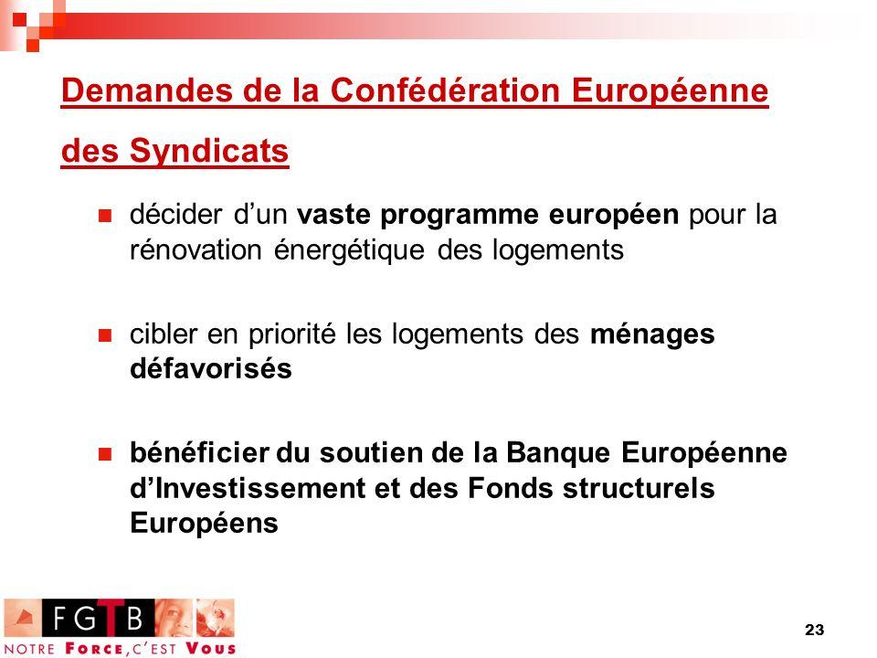 23 Demandes de la Confédération Européenne des Syndicats décider dun vaste programme européen pour la rénovation énergétique des logements cibler en priorité les logements des ménages défavorisés bénéficier du soutien de la Banque Européenne dInvestissement et des Fonds structurels Européens