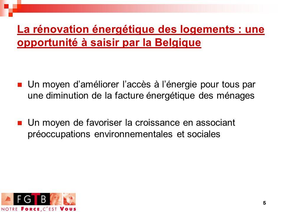 5 La rénovation énergétique des logements : une opportunité à saisir par la Belgique Un moyen daméliorer laccès à lénergie pour tous par une diminution de la facture énergétique des ménages Un moyen de favoriser la croissance en associant préoccupations environnementales et sociales