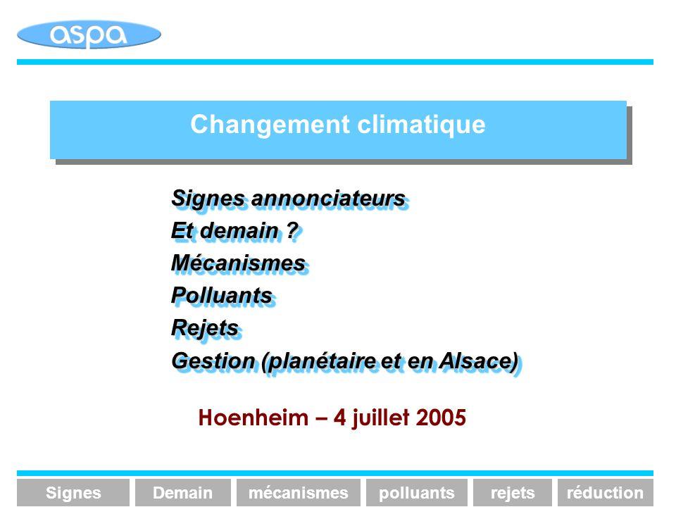 Changement climatique Signesmécanismespolluantsrejetsréduction Signes annonciateurs Et demain ? MécanismesPolluantsRejets Gestion (planétaire et en Al