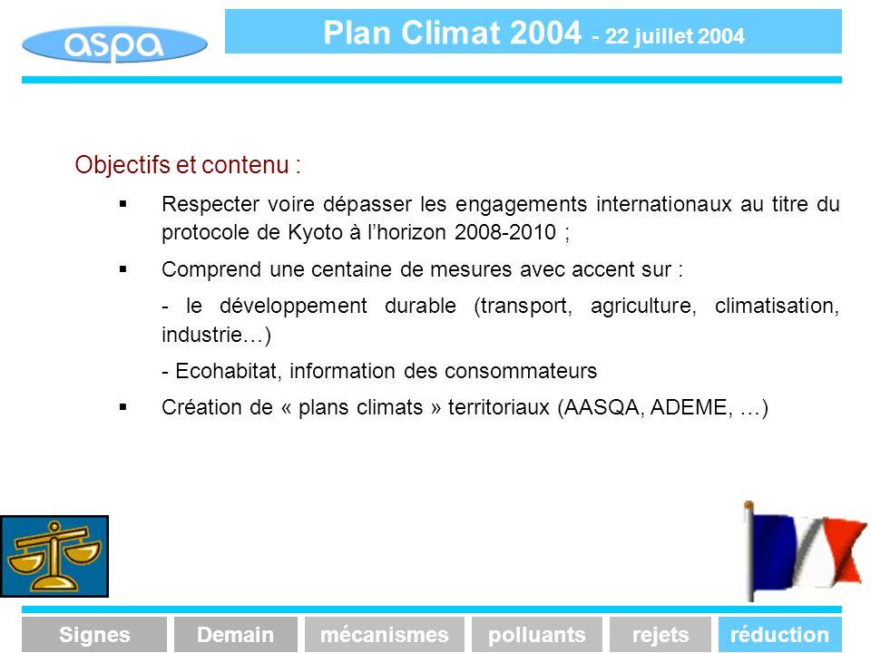 Objectifs et contenu : Respecter voire dépasser les engagements internationaux au titre du protocole de Kyoto à lhorizon 2008-2010 ; Comprend une cent