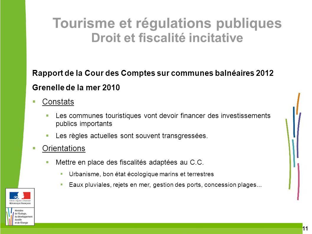 11 Tourisme et régulations publiques Droit et fiscalité incitative Rapport de la Cour des Comptes sur communes balnéaires 2012 Grenelle de la mer 2010