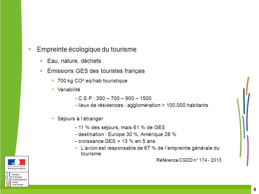 4 Empreinte écologique du tourisme Eau, nature, déchets Émissions GES des touristes français 700 kg CO² eq/hab touristique Variabilité - C S P : 350 –