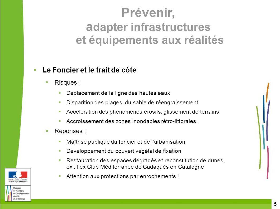 5 Prévenir, a dapter infrastructures et équipements aux réalités Le Foncier et le trait de côte Risques : Déplacement de la ligne des hautes eaux Disp