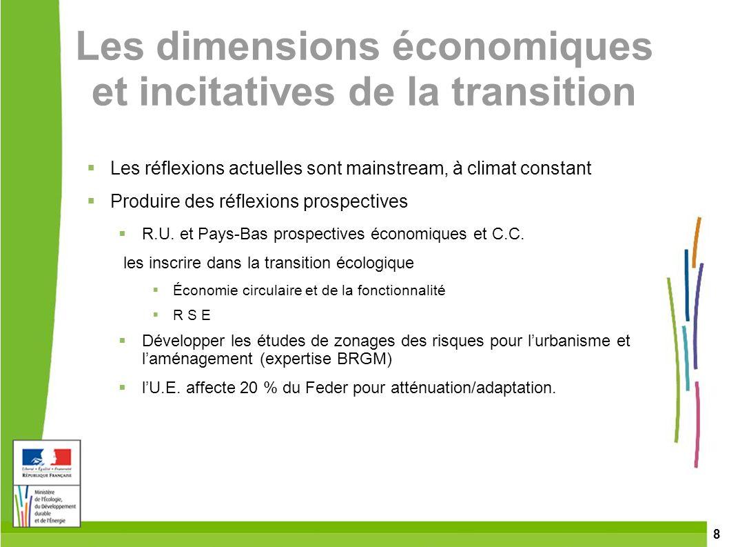 8 Les dimensions économiques et incitatives de la transition Les réflexions actuelles sont mainstream, à climat constant Produire des réflexions prosp