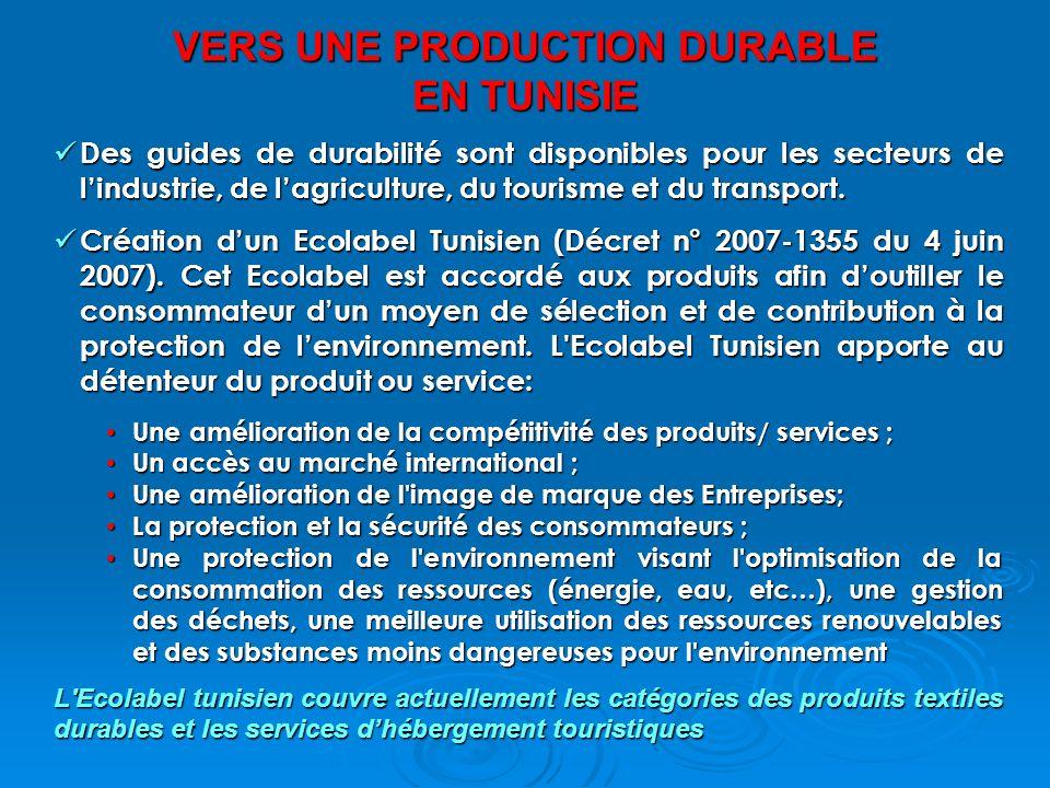 VERS UNE PRODUCTION DURABLE EN TUNISIE Des guides de durabilité sont disponibles pour les secteurs de lindustrie, de lagriculture, du tourisme et du transport.