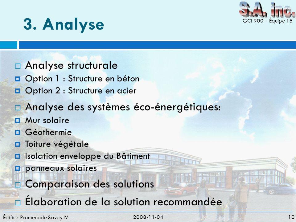 3. Analyse Édifice Promenade Savoy IV Analyse structurale Option 1 : Structure en béton Option 2 : Structure en acier Analyse des systèmes éco-énergét
