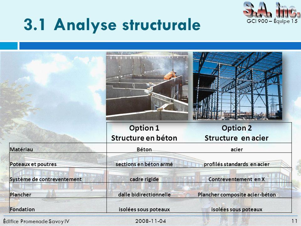 3.1Analyse structurale Édifice Promenade Savoy IV 2008-11-04 11 GCI 900 – Équipe 15 Option 1 Structure en béton Option 2 Structure en acier MatériauBé