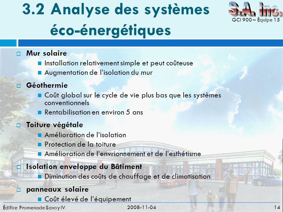 3.2Analyse des systèmes éco-énergétiques Édifice Promenade Savoy IV 2008-11-04 14 GCI 900 – Équipe 15 Mur solaire Installation relativement simple et