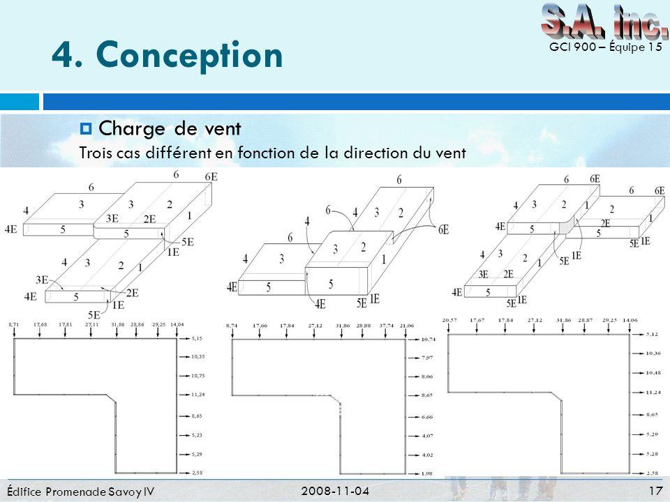 4. Conception Édifice Promenade Savoy IV 2008-11-04 17 GCI 900 – Équipe 15 Charge de vent Trois cas différent en fonction de la direction du vent
