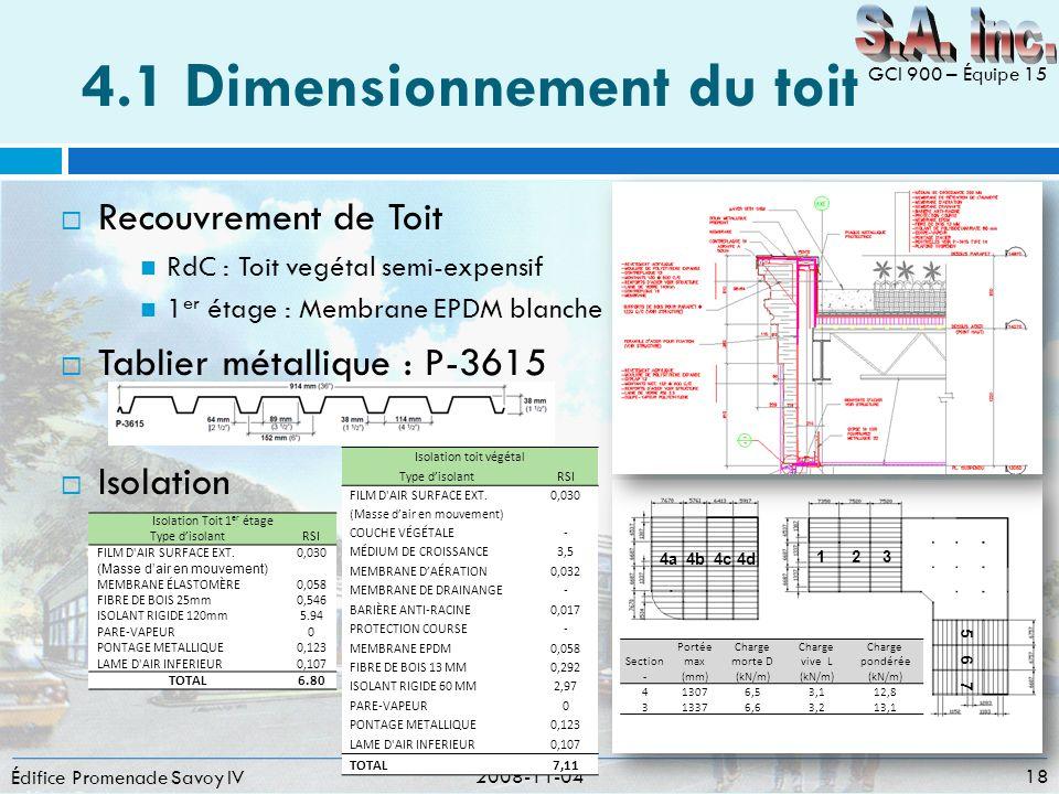 4.1 Dimensionnement du toit Recouvrement de Toit RdC : Toit vegétal semi-expensif 1 er étage : Membrane EPDM blanche Tablier métallique : P-3615 Isola
